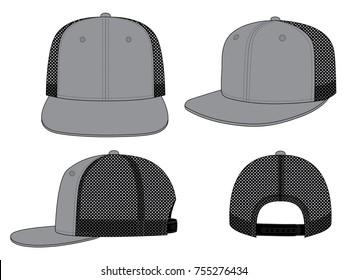 Gray Hip Hop Cap Design Vector with Black Net-Mesh.