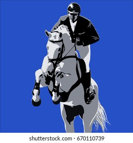 Gray horse and rider on blue background.