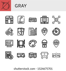 gray icon set. Collection of No bomb, Flat arch greenhouse, Turn, Bus, Calculator, Pound, Dominoes, Placeholder, Sticker, Resize, Heated towel rail, Paint palette, Airdrop icons