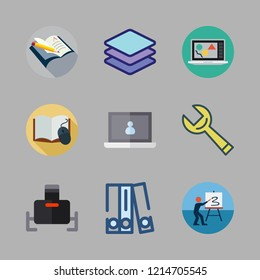gray icon set. vector set about wrench, laptop, virtual reality and blinder icons set.