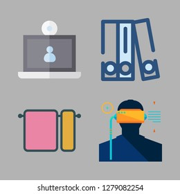 gray icon set. vector set about towels, blinder, laptop and virtual reality icons set.