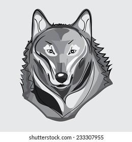 Gray illustration of wild wolf
