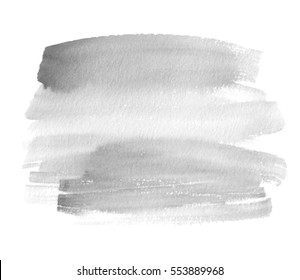 Gray isolated watercolor hand drawn paper texture stain on white background for text design, web, label. Abstract aquarelle dark color dry brush paint striped vector element for card, backdrop, tag