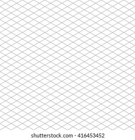 Gray isometric grid on white, seamless pattern