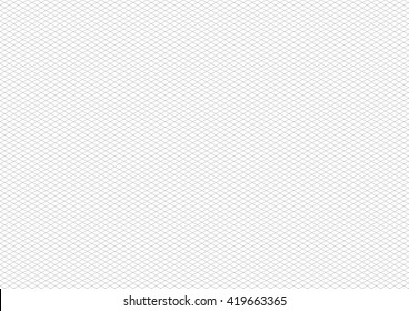 Gray isometric grid on white, a4 size horizontal background