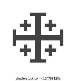 Gray jerusalem cross vector symbol