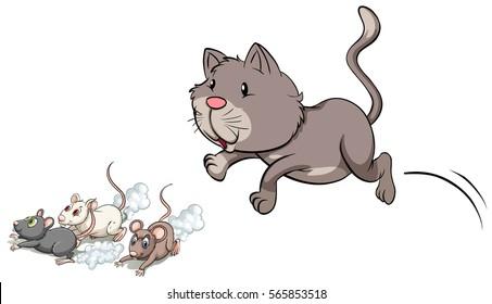 Gray kitten chasing mouse illustration