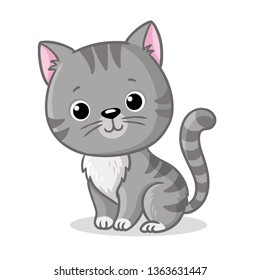 Gray kitten sitting on a white background. Cute pet in cartoon style. Vector illustration.