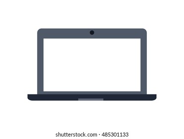 Gray laptop flat icon. Laptop flat icon with blank white screen. Laptop in front. Concept of IT communication, e-learning, internet network. Isolated object on white background. Vector illustration.
