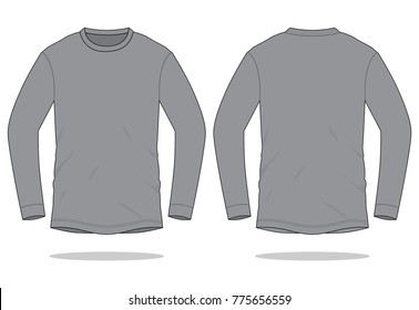 Gray long sleeve t shirt for template  (Front and Back views)