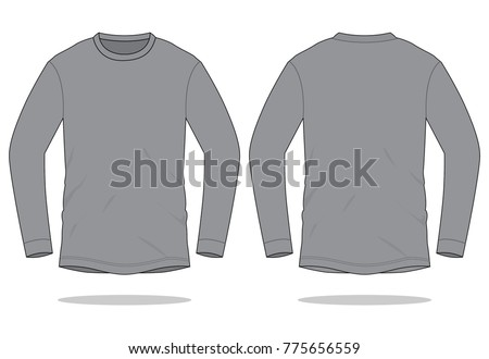 Gray Long Sleeve T Shirt Template Stock Vector Royalty Free