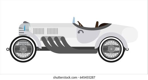 Gray long vintage car