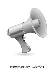 gray loud speaker icon 3d