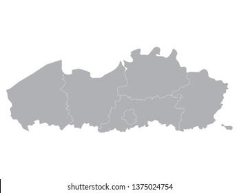 Gray Map of Belgian Region of Flanders