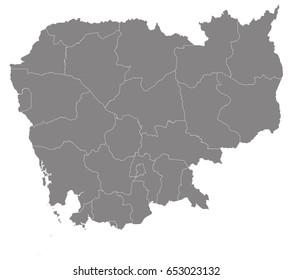 Gray map of Cambodia