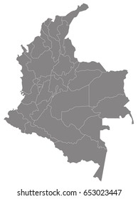 Gray map of Colombia
