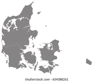 Gray map of Denmark