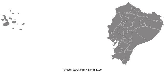 Gray map of Ecuador