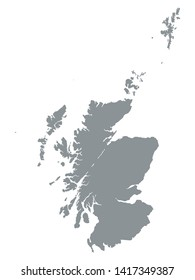 Gray Map of Scotland on White Background