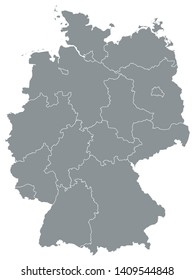 Gray Map of States of Germany