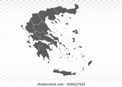 Gray map-Greece map. Each city and border has separately for your infographics and earth template for website. Vector illustration eps 10.