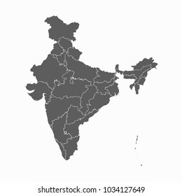 Gray map-India map. Each city and border has separately for your infographics and earth template for website. Vector illustration eps 10.