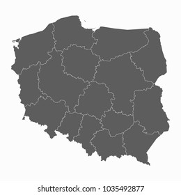 Gray map-Poland map. Each city and border has separately for your infographics and earth template for website. Vector illustration eps 10.