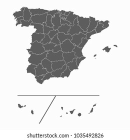 Gray map-Spain Provinces map. Each city and border has separately for your infographics and earth template for website. Vector illustration eps 10.