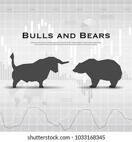 Gray market background with bull and bear black silhouettes