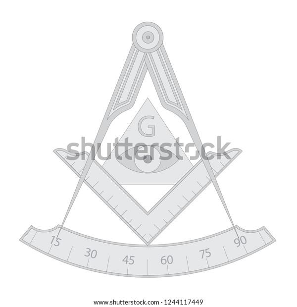 Gray Masonic Square Compass Symbol Triangle Stock Vector