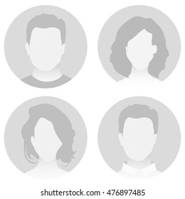 Gray material vector people avatar (man and woman)