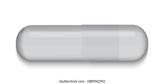 Gray Medical pill on white background. Virus capsule. The medicine. Vector Illustration