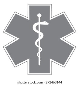 Gray Medical symbol of the Emergency - Star of Life - icon isolated