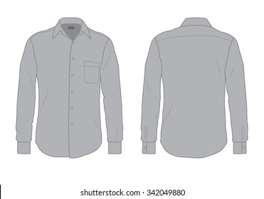 Gray men's button down dress shirt template, front and back view