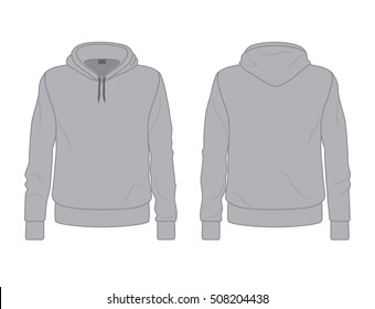 Gray men's hoodie template, front and back view