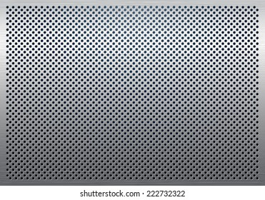 Gray metal background, perforated metal texture