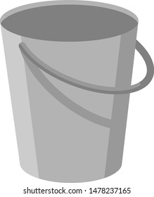 Gray metal empty bucket with a handle. Isolated white background. A bucketful for washing food, water and drink. Household chores pail. Vector flat cartoon illustration.