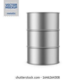 Gray metallic 200 l metal barrel. Container for liquid chemical products - oil, fuel, gasoline. Photo-realistic packaging vector mockup template. Vector 3d illustration.