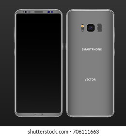 Gray mobile phone concept, front view and backside with camera, flash and speaker on a black background. Smartphone with camera buttons, power and volume. Vector realistic high detailed illustration.