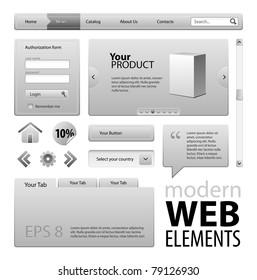 Gray Modern Website Design Elements: Buttons, Form, Slider, Scroll, Icons, Tab, Menu, Navigation Bar