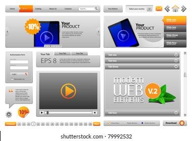 Gray Modern Website Design Elements V.2: Buttons, Form, Slider, Scroll, Icons, Tab, Menu, Navigation Bar, Bread crumbs, Video player