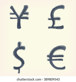Gray money (pound, euro, yen, dollar) sign (icon, symbol), pale yellow background. Painted design element. Watercolor illustration for web or typography (magazine, brochure, flyer, poster).