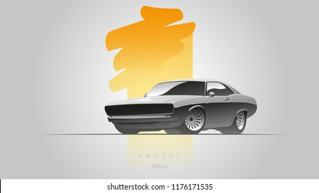 Gray muscle car in a realistic style in vector