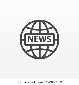 Gray news icon isolated on background. Modern flat pictogram, business,  marketing, internet concept. Trendy Simple vector symbol for web site design or button to mobile app. Logo illustration.