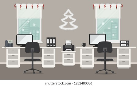 Gray office, decorated with Christmas decoration. There are desks, black chairs, a printer and other objects on a window background. There is also a decorative Christmas tree on the wall here. Vector