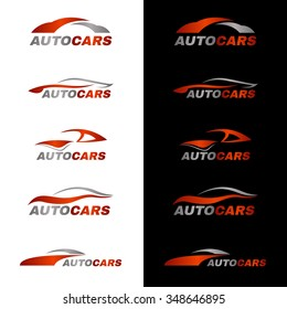 Gray orange car logo in black and white background