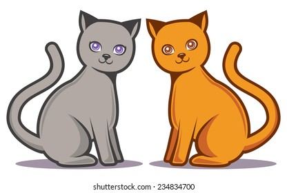 Gray and orange cartoon cats. EPS10