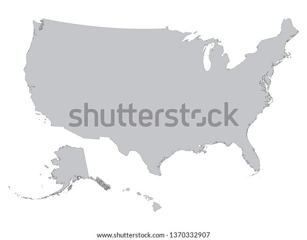 Gray Outline Map United States America Stock Vector (Royalty ...