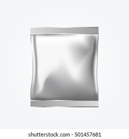 Gray Package, Foil, Food Snack Bag Packaging. Plastic Pack. Vector