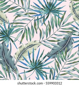 Gray palm leaves on the light pink background. Vector seamless pattern. Tropical illustration. Jungle foliage.